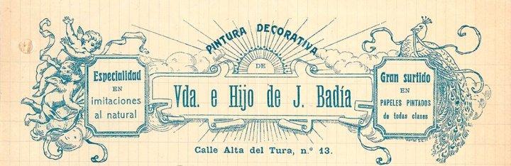 Capçalera d'una factura de «Viuda e hijo de J. Badía», 1919 (ACGAX. Fons Pere Llosas Badia. Autor: desconegut)