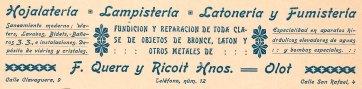 """Capçalera d'una factura de """"F. Quera y Ricolt Hnos."""", 1918 (ACGAX. Fons Pere Llosas Badia. Autor desconegut)"""