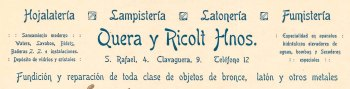 """Capçalera d'una factura de """"Quera y Ricolt Hnos."""", 1919 (ACGAX. Fons Pere Llosas Badia. Autor desconegut)"""