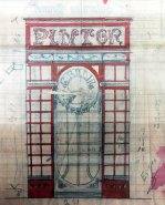Esbós de la porta de la botiga del pintor Carles Badia, 1913