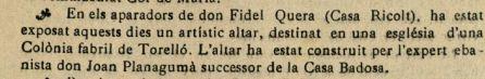 """Notícia de l'exposició de l'altar fet per Joan Planagumà (""""La Tradició Catalana"""", 14.12.1923)"""