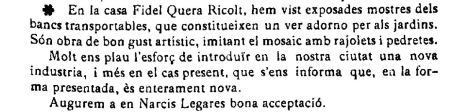 """Notícia de l'exposició de bancs transportables (""""El Deber"""", 21.6.1924)"""