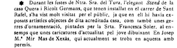"""Notícia de l'exposició de caricatures de Josep Mir Mas de Xexàs i gerres decorades de Francesca Soler (""""El Deber"""", 16.9.1922)"""