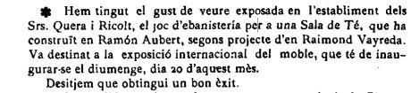 """Notícia de l'exposició de mobles dissenyats per Raimon Vayreda i construïts per l'ebenista Ramon Aubert (""""El Deber"""", 12.5.1923)"""