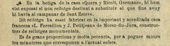"""Notícia de l'exposició del rellotge nou de Sant Esteve (""""La Tradició Catalana"""", 17.11.1923)"""