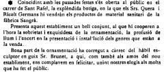 """Notícia sobre la inauguració de la botiga Quera Ricolt (""""El Deber"""", 14.9.1918)"""