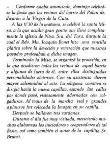 """Notícia sobre la inauguració de la capelleta de la Verge de la Guia (""""El Deber"""", 31.12.1915)"""