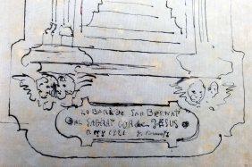 Fragment de l'esbós de la capelleta del Sagrat Cor al carrer de Sant Bernat, a Olot, 1921 (ACGAX. Fons Ajuntament d'Olot. Expedient de llicència d'obres)