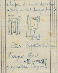 Notes sobre dues portes i xarneres per al despatx del botiguer Ricolt, 12.4.1916 (Dietari. ACGAX. Fons Sadurní Brunet Pi)