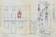Plànol de la façana de la casa del carrer de Sant Bernat, 21, a Olot, amb el detall ampliat de la capelleta de Sagrat Cor, 1921 (ACGAX. Fons Ajuntament d'Olot. Expedient de llicència d'obres)