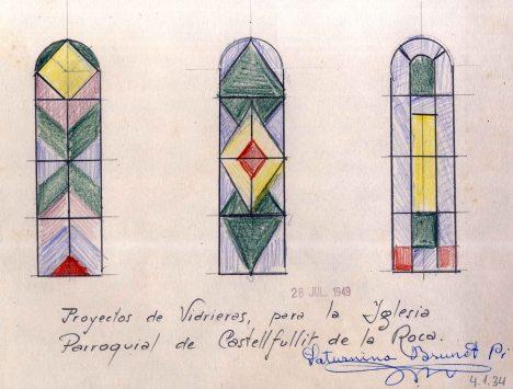 Proposta de vitralls de l'església de Sant Salvador, a Castellfollit de la Roca, 1949
