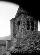 Vista parcial del campanar de l'església de Sant Esteve a Llanars, 1927 (foto Sadurní Brunet Pi, ACGAX)
