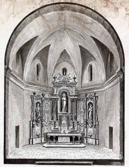 Dibuix de l'altar major de l'església de Sant Salvador, a Castellfollit de la Roca, 1947