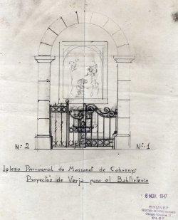 Projecte de reixat per al baptisteri de l'església de Sant Martí, a Maçanet de Cabrenys, 1946