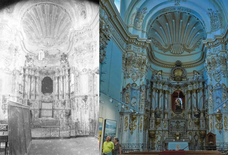 Vista frontal de la capella dels Dolors de la basílica de Santa Maria, a l'esquerra entre els anys 1942 i 1944 (ACGAX. Fons Sadurní Brunet Pi. Autor: Sadurní Brunet), i a la dreta l'any 2016 (Foto: www.revistaotrosdestinos.com)