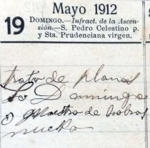 Anotacions de treballs per al senyor Domènec, 1911 (ACGAX. Fons Sadurní Brunet Pi. Dietaris)