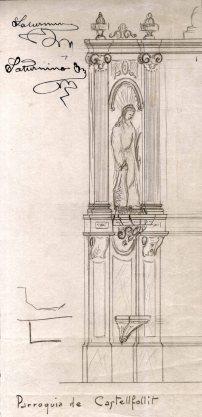 Dibuix del lateral de l'altar major de l'església de Sant Salvador, a Castellfollit de la Roca, 1945