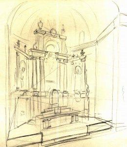Esbós del projecte de l'altar major per a l'església de Sant Salvador, a Castellfollit de la Roca, 1945