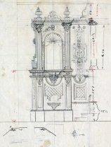 Detall de l'ornamentació per a l'altar major de l'església de Sant Salvador, a Castellfollit de la Roca, 1945