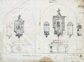 Esbossos de fornícules i altar de l'església de Sant Salvador, a Castellfollit de la Roca, 1945