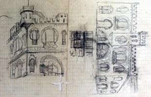 Esbós similar a la casa Comas d'Argemir, a Barcelona, entre els anys 1908 i 1912