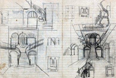 Esbossos de reforma d'una escala a Barcelona, entre els anys 1909 i 1912