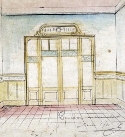 Projecte de reforma del menjador d'una casa a Barcelona, entre els anys 1909 i 1912