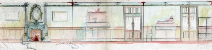 Projecte de reforma del saló d'una casa sense identificar, a Barcelona, entre els anys 1909 i 1912
