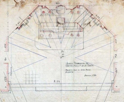 Planta del projecte d'altar major de l'església de Sant Salvador, a Castellfollit de la Roca, 1945