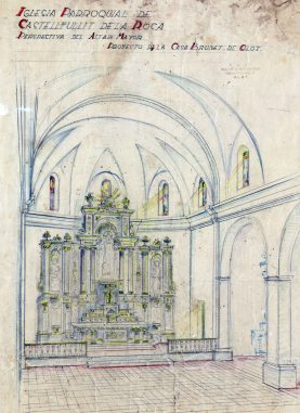 Projecte de l'altar major de l'església de Sant Salvador, a Castellfollit de la Roca, 1945