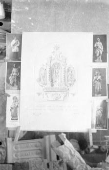 Reproducció del projecte de l'altar de Sant Josep de l'església de Sant Salvador, a Castellfollit de la Roca, 1945 (ACGAX. Fons Sadurní Brunet Pi. Autor: Sadurní Brunet)