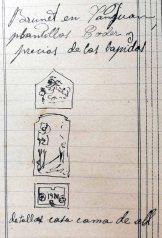 Esbossos de la làpida per a la tomba de Salvador Coderch, 10.5.1920 (ACGAX. Fons: Sadurní Brunet Pi. Dietaris)