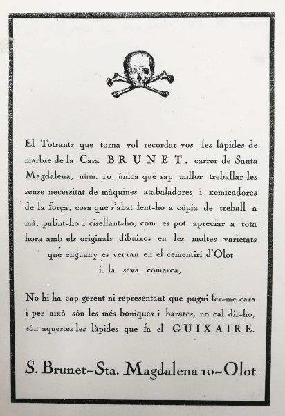 Anunci publicat a l'auca de Festes del Tura, 1928