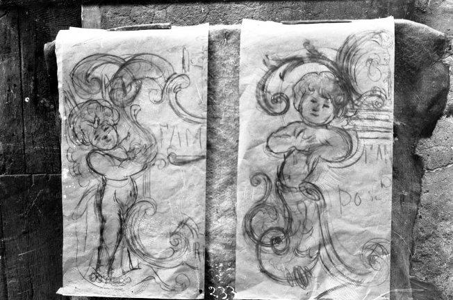 Dissenys decoratius sobre paper per traspassar a làpides, entre els anys 1923 i 1938 (ACGAX. Fons: Sadurní Brunet Pi. Autor: Sadurní Brunet)