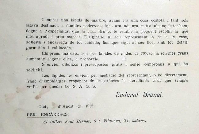Targeta comercial de Sadurní Brunet detallant els treballs en làpides de marbre, 1935
