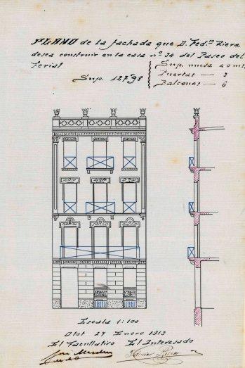 Plànol de la façana de la casa Riera, 1913 (ACGAX. Fons Ajuntament d'Olot. Expedient de llicència d'obres)