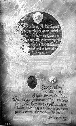 Rètol de propaganda fet amb marbre, c. 1925 (ACGAX. Fons Sadurní Brunet Pi. Autor: Sadurní Brunet)