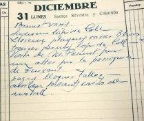 Anotació sobre la visita del sacerdot Llorenç Pascuet Serra per encarregar l'altar major de l'església de Sant Esteve, a Josa i Tuixén, 31.12.1951 (ACGAX. Fons Sadurní Brunet Pi. Dietaris)