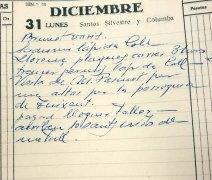Anotació sobre la visita del sacerdot Llorenç Pascuet Serra per encarregar l'altar major de l'església de Sant Esteve, a Tuixent, 31.12.1951 (ACGAX. Fons Sadurní Brunet Pi. Dietaris)