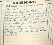 Anotació sobre la visita del sacerdot Llorenç Pascuet Serra per encarregar l'altar major de l'església de Sant Esteve de Tuixent, a Josa i Tuixent, 31.12.1951 (ACGAX. Fons Sadurní Brunet Pi. Dietaris)