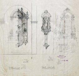 Esbossos d'altars i fornícules de església Sant Mamet, a Riumors, 1948