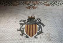 Vista parcial del mosaic del terra de l'oratori de Can Gussinyer, a Castellfollit de la Roca, 2018 (ACGAX. Col·lecció d'imatges de l'ACGAX. Autors: Quim Roca i Anna Rius)