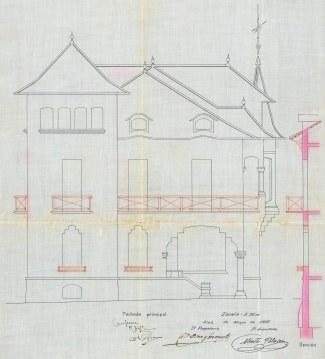 Plànol de la casa Pons i Tusquets, 1916 (ACGAX. Fons Ajuntament d'Olot. Expedient de llicència d'obres)