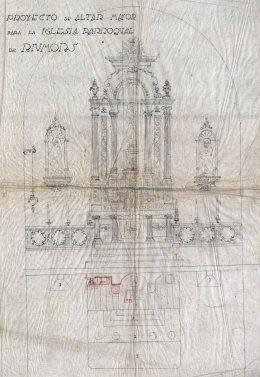 Projecte de l'altar major de l'església de Sant Mamet, a Riumors, 1948