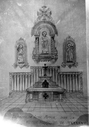 Reproducció del projecte d'altar major de l'església de Sant Esteve, a Tuixent, 1952 (ACGAX. Fons Sadurní Brunet Pi. Autor: Sadurní Brunet)