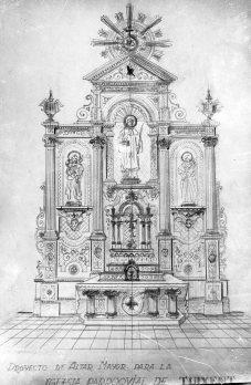 Reproducció del projecte de l'altar major de l'església de Sant Esteve, a Tuixent, 1952 (ACGAX. Fons Sadurní Brunet Pi. Autor: Sadurní Brunet)
