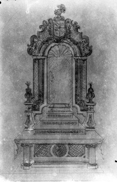 Reproducció del projecte de l'altar de la Mercè de l'església de Sant Maurici, a Sant Mori, 1946 (ACGAX. Fons Sadurní Brunet Pi. Autor: Sadurní Brunet)