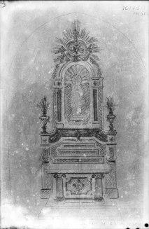 Reproducció del projecte de l'altar de la Puríssima de l'església de Sant Maurici, a Sant Mori, 1946 (ACGAX. Fons Sadurní Brunet Pi. Autor: Sadurní Brunet)