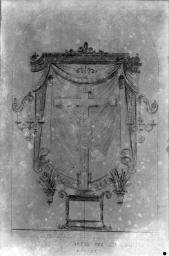Reproducció del projecte de l'altar del Sant Crist de l'església de Sant Maurici, a Sant Mori, 1946 (ACGAX. Fons Sadurní Brunet Pi. Autor: Sadurní Brunet)