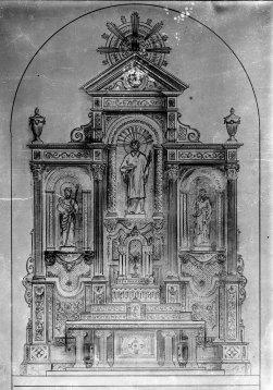Reproducció del projecte de l'altar major de l'església de Sant Esteve, a Josa i Tuixent, 1952 (ACGAX. Fons Sadurní Brunet Pi. Autor: Sadurní Brunet)